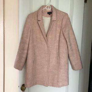 Topshop fuzzy pink faux fur coat, size 6!